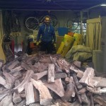 A large delivery of logs and firewood
